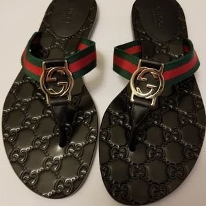 Gucci GG Web Thong Sandals - NWOB